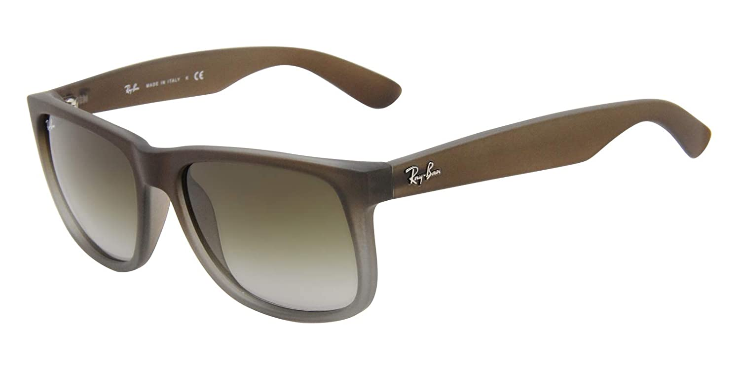 1194a6e04ef3 Amazon.com  Ray-Ban RB4165 854 7Z Justin Brown Rubber Frame   Green  Gradient Lens  Clothing