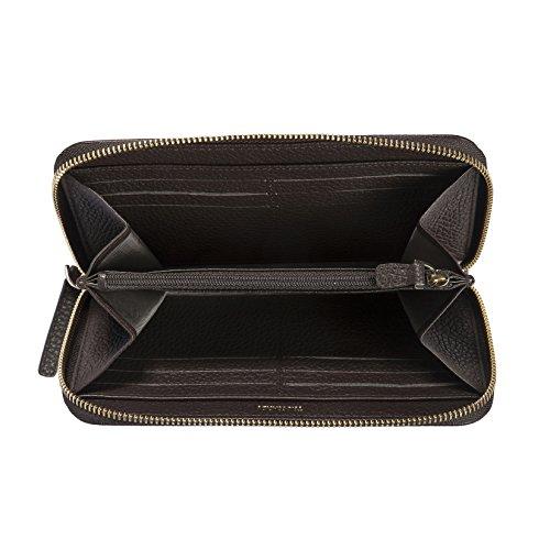 Trussardi Frau Geldbörse in der echten Dollar Leder, 100% Calf - 19x10,80x2 cm Braun