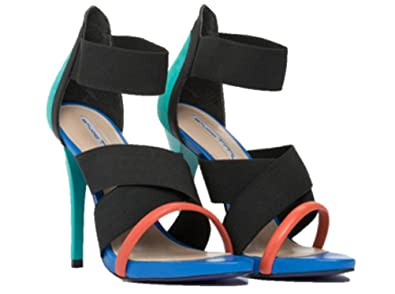 e0048a976496 Image Unavailable. Image not available for. Color  Studio TMLS 4 Inch High  Heel Sandal Black Blue Orange Strappy Size 7.5 Stiletto Platform Pump