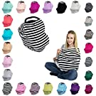 JLIKA Baby Car Seat Canopy Covers - Infant Carseat Nursing Cover for Babies, Girls and Boys (Black/White Stripe)