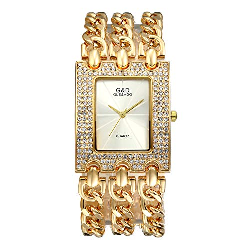 (Women Luxury Iced Out Bling Watch Square Rhinestones Crystal Bezel Bracelet Bangle Cuff Casual Fashion Dress Wrist Watch)