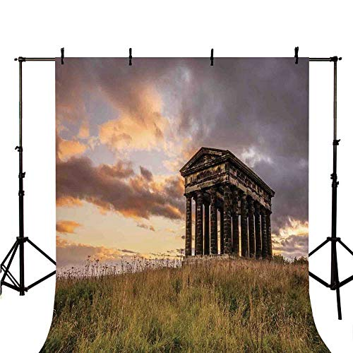 - Home Decor Stylish Backdrop,Ancient Greek Monument at Sunset Sky Landscape with Dark Scenery Europian Heritage Rurals for Photography,98.4