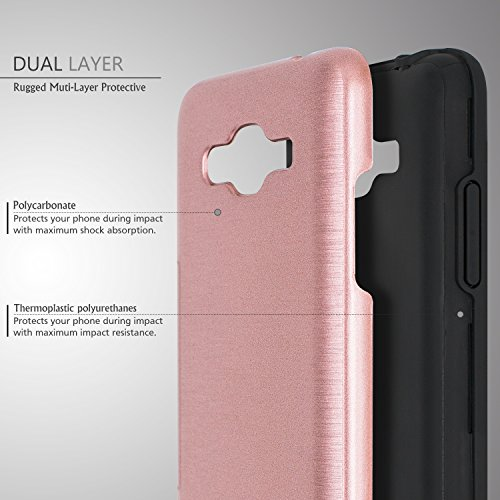 Galaxy J2 Prime Case,Galaxy Grand Prime Plus Case,(TM)[Metal Brushed Texture] Impact Resistant Heavy Duty Hybrid Dual Layer Shockproof Protective Cover Shell For Samsung Galaxy J2 Prime Rose Gold Photo #4
