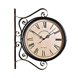 Double Sided Wall Clock, Paddington Station Wall Clock Double Sided Garden Outdoor Bracket Clock, Antique-Look Wall-Mounted for Indoor & Garden Hanging Décor