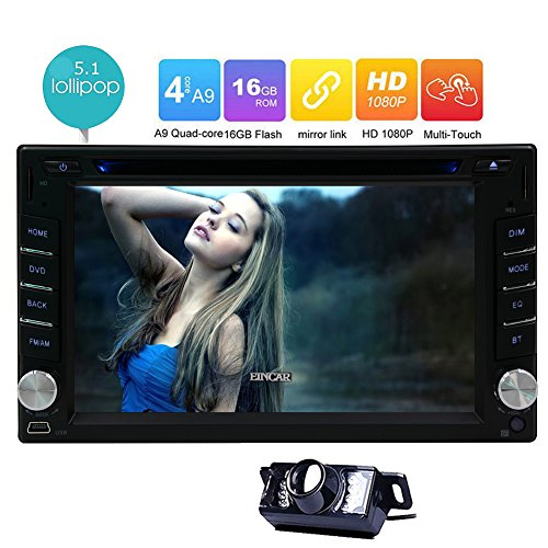 Reverse Camera + In-dash 6.2 inch Android 5.1 Lollipop Quad Core Head Unit Double Din Car Stereo DVD Player Support GPS Navigation Radio Phone Link Autoradio Bluetooth SWC USB SD 3G WIFI AUX CAM-IN
