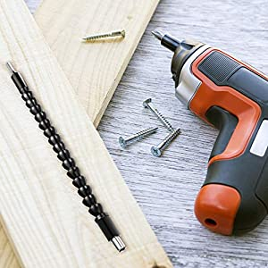 3 Pieces 11.4 Inches Flexible Extension Soft Shaft Screwdriver Drill Bit Holder with 10 Pieces Drill Bit Set for Electrical Screwdriver or Hand Drill Multi-angle Work