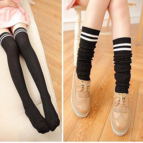 FEITONG 2016 New Women Girls Wind Thigh High Socks Stockings (Black)
