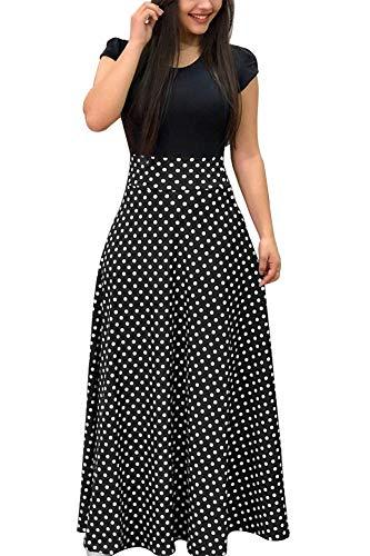Demetory Women`s Summer Short Sleeve Empire Waist Polka Dot Flowy Long Maxi Dress Black X-Large (Black Dress Sleeve Empire Short In)