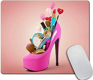 Amcove Cosmetics Set into a Woman's Shoe Desk Accessories Mousepad Cute Desk Decor Mousepad Funny Cat Shoe Print Pink Mousepad Office Decor
