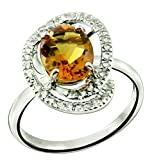 RB Gems Sterling Silver 925 Ring GENUINE GEMSTONE Oval 10x8 mm, Rhodium-Plated Finish, Solitaire Style (9, citrine)