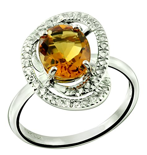 Genuine Madeira Citrine Ring - RB Gems Sterling Silver 925 Ring GENUINE GEMSTONE Oval 10x8 mm, Rhodium-Plated Finish, Solitaire Style (10, citrine)