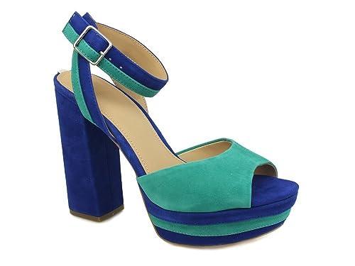 Guess Scarpe Sandalo Fanny Donna FLFAN1 SUE03 BLUE GREEN Primavera Estate 2018
