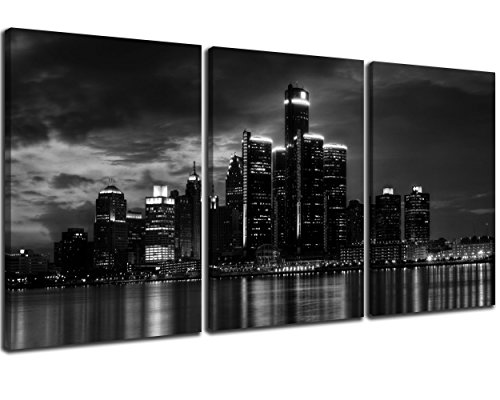 NAN Wind 3 Pcs Wall Art Beautiful Detroit Skyline Black & White Canvas Art Paintings for Room Decor Cityscape Skyscrapers Night Scene Picture Prints On Canvas for Home Decor Modern Giclee Framed