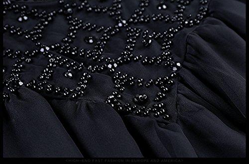 Da Maniche Vestiti Vestito Collare Donne Allentata Casuale Alta Cotiledone Delle `s HYxFII