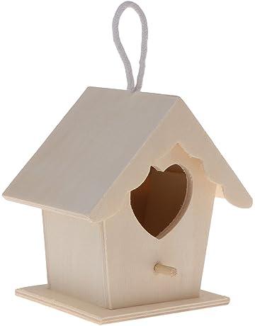 Manyo de Nido de pájaro Madera Natural casa DIY Decorativo en Forma corazón ahorcamiento Nido para
