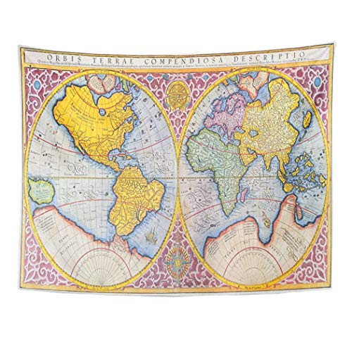 Tarolo Decor Wall Tapestry Orbis Terrae Compendiosa Descriptio 16Th Century Map of The World in Latin by Mercator Published 1587 80 x 60 Inches Wall Hanging Picnic for Bedroom Living Room Dorm