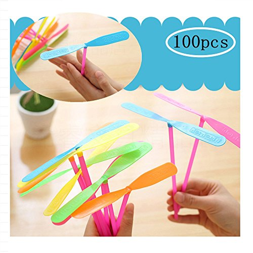 Tang Song 100PCS Plastic Dragonfly Plastic Bamboo-Copter Bamboo Dragonfly Toy Multi-Colored Great Party Favors for Kids Boys and Girls