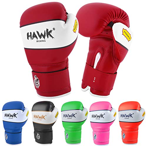 Hawk Sports Kids Boxing Gloves for Kids Children Youth Punching Bag Kickboxing Muay Thai Mitts MMA Training Sparring Gloves (Red, 4 oz)