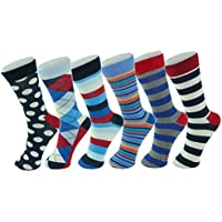 Alpine Swiss Men's Cotton 6 Pack Dress Socks Solid Ribbed Argyle Shoe Size 6-12