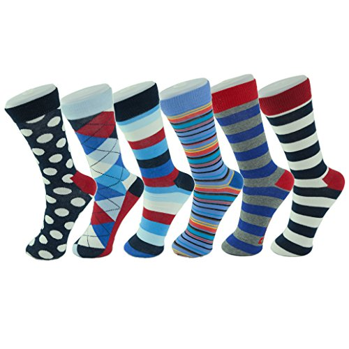 Alpine+Swiss+Men%27s+Cotton+6+Pack+Dress+Socks+Striped+%26+Argyle+Bright+Color+Pack