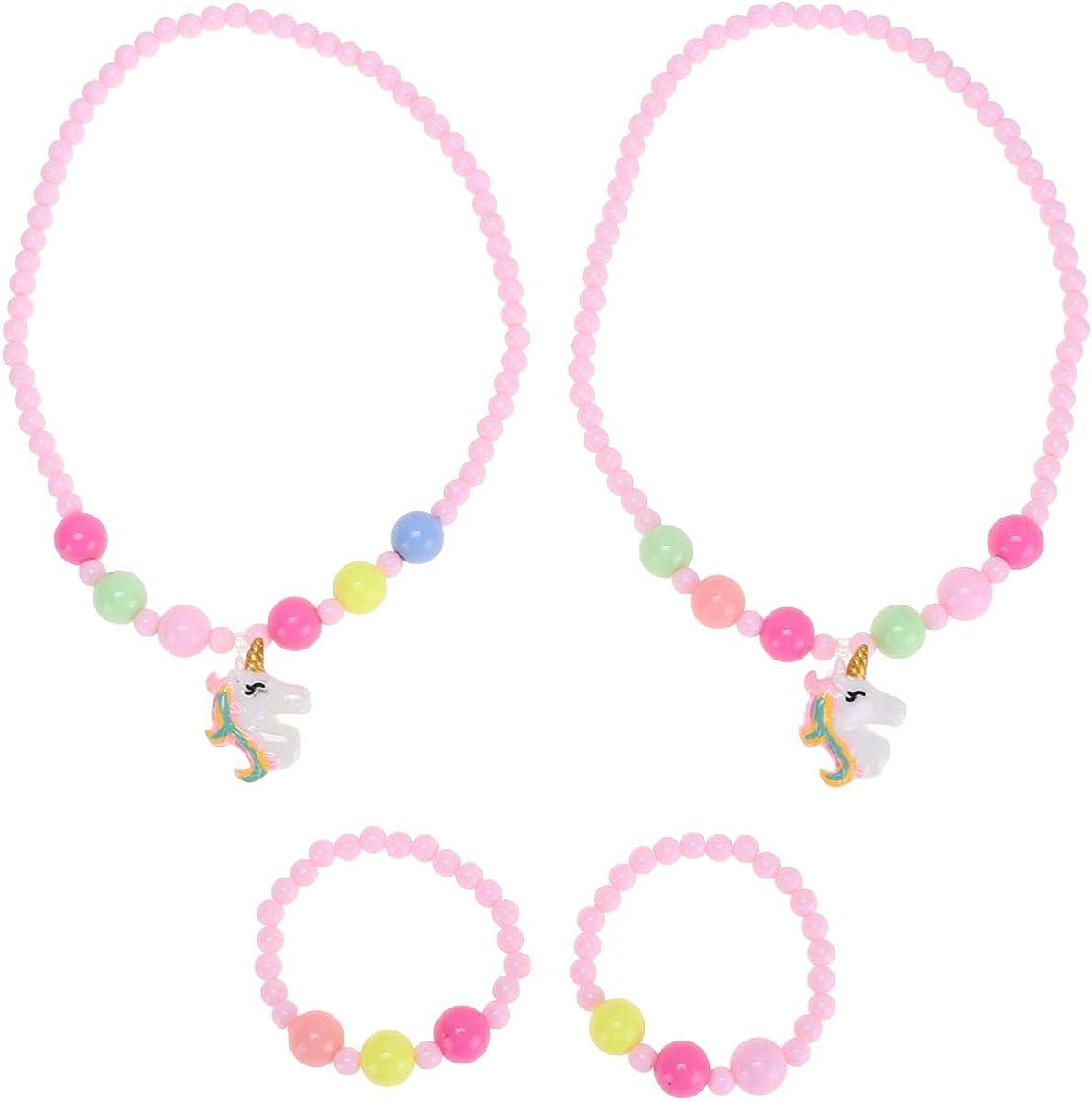 TOYANDONA Conjunto de Collar Y Pulsera de Unicornio Pulsera de Cuentas para Niños Colgante de Collar de Princesa Personalizado para Niñas Regalo de Cumpleaños para Niños Rosa 2 Juegos