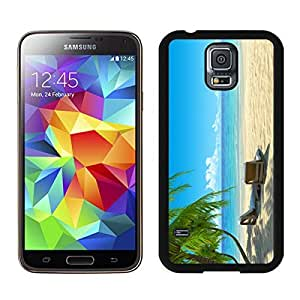 Diy Samsung Galaxy S5 Case Chairs on Beach W Palmtrees Durable Soft Silicone Rubber Black Phone Cover