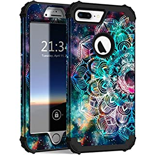 iPhone 8 Plus Case, iPhone 7 Plus Case, Hocase Heavy Duty Shockproof Protection Hard Plastic+Silicone Rubber Hybrid Protective Case for iPhone 7 Plus/iPhone 8 Plus - Mandala in Galaxy