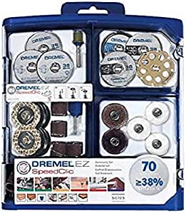 Dremel 725 EZ SpeedClic Multi Purpose Tool Accessory Kit for Rotary Tools - 70 Accessories for Cutting, Carving, Sanding, Cleaning, Grinding, Polishing, Sharpening in Convenient Tool Box