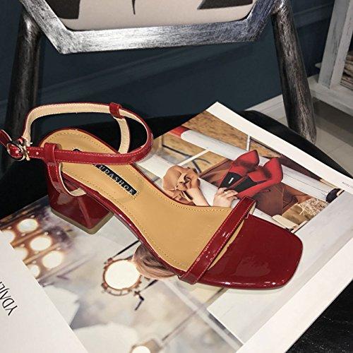 Couleur Cuir unie Talon Chaussures Grossiers Talons Boucle Sandales Toe Sandales En SHOESHAOGE Les 8512 7xwTq7HSR