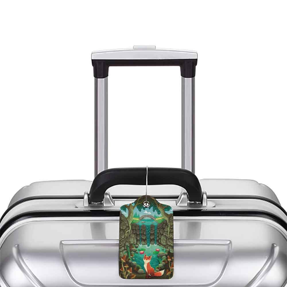 Personalized luggage tag Cartoon Fox near the Pond Mushrooms Waterlilies and a Waterfall Illustration Easy to carry Forest Green Sky Blue W2.7 x L4.6
