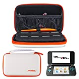 AZFUNN New Nintendo 2DSXL/ LL Protective Kit Traveler Case - Portable Storage Carry Case Bag w/ Handle & 8 Game Cards Slots + 2 Screen Protector Film + Stylus for New 2SDXL Game Console (White Orange)