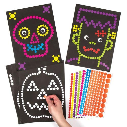 Family Circle Halloween Craft Ideas (Baker Ross Halloween Dotty Art Picture Decoration Stickers | Kids Fall Fun Arts & Crafts Project | No Glue or Scissors Needed | Pack of 120 Colorful)