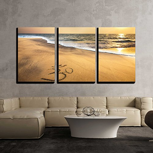 wall26 - 3 Piece Canvas Wall Art - Om Symbol on the Sand at the Beach near the Ocean - Modern Home Decor Stretched and Framed Ready to Hang - 16