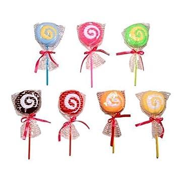 Lote de 28 Toallas Piruleta en Bolsita de Regalo - Toallas, Toallitas en formas de Pasteles, Pastelitos, Cupcakes. Detalles de Comuniones, Bodas, ...