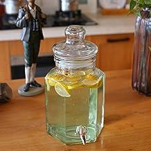 Hexagon Glass Drink Dispenser Juice Jar with Spigot 1.6 Gallon/203 Ounce
