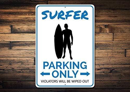 HSSS Panneau de stationnement Surfer Cadeau Surfer Vague Rider Panneau de Surf en m/étal d/écoration Maison de Plage en Aluminium 20,3 x 30,5 cm