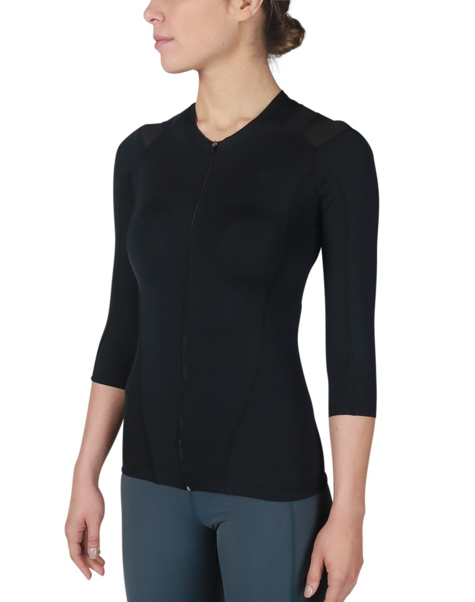 IntelliSkin Women's Foundation Recovery Zip - Athletic Zip Up Posture Correcting Shirt - Instant Posture Correction with PostureCue Technology (Small)