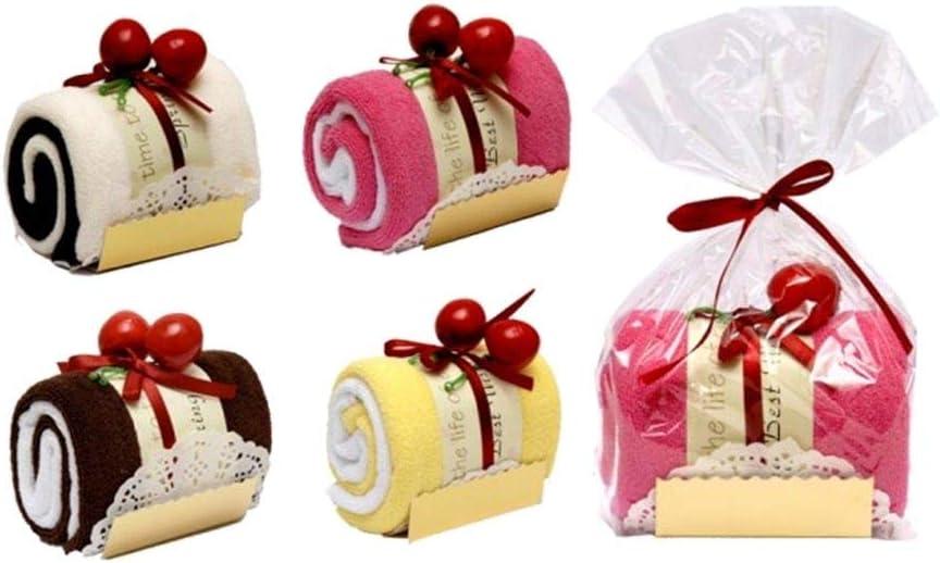 Lote de 20 Toallas con Bolsita Forma Tronco Pastel Cupcake- Detalles Originales para Invitados de Bodas, Regalos Comuniones y Cumpleaños Infantiles