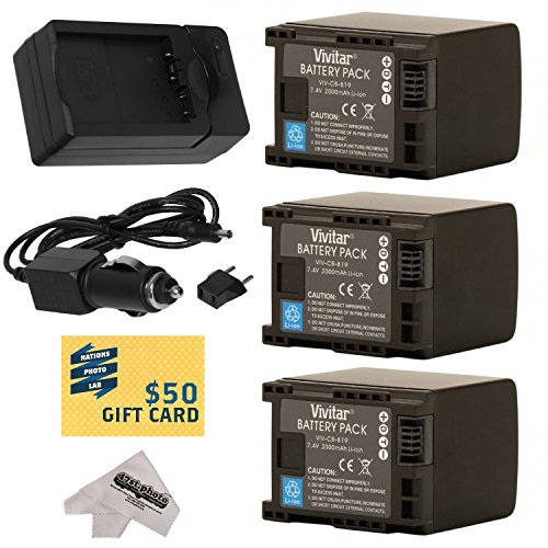 3 Canon BP-819 BP819 Lithium Ion Replacement Battery Packs 2000MAH Each 6000MAH in Total + Rapid AC/DC Battery Charger For The Canon HF S10 S11 S20 S21 S30 G10 G20 S100 M30 M31 M32 M40 M41 M300 M400 XA10, HF10, HF11, HF20, HF100, HF200, HG20, HG21, HG30, HFS10, HFS11, HFS20, HFS21, HFS30, HFG10, HFG20, HFS100, HFM30, HFM31, HFM32, HFM40, HFM41, HFM300 & HFM400 Video Camera Camcorders Includes 47stphoto Microfiber Cleaning Cloth Photo Print