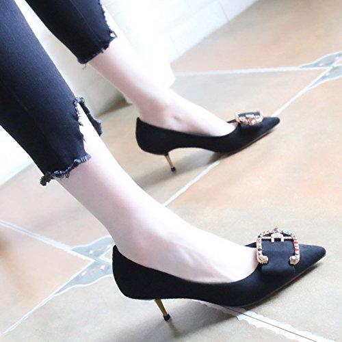 Peu Noeuds De Bouche Fin Profonde Talons Printemps Unique Chaussures Zhudj Hauts Black Papillon Heels Bow High Talons 1q86wxwUf
