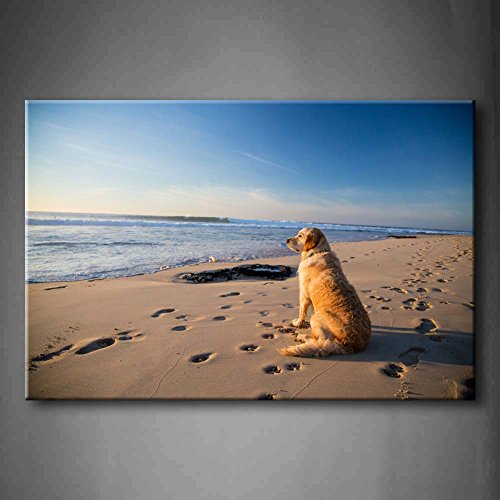 First Wall Art - Golden Retriever Dog Waiting On The Beach In Sunset Wall Art Painting The Picture Print On Canvas Animal Pictures For Home Decor Decoration Gift (Stretched By Wooden Frame,Ready To Hang)