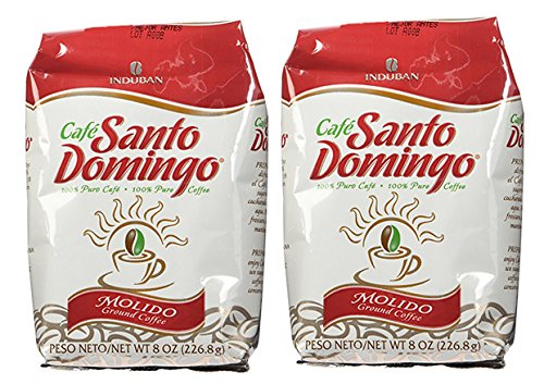 Santo Domingo 100% Pure Dominican Ground Coffee Two 8 oz Bags 16 Oz.