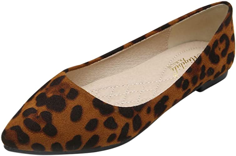 Leopard Print Faux Suede Pointed Pumps