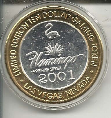 $10 flamingo 2001 casino gaming token coin las vegas nevada obsolete