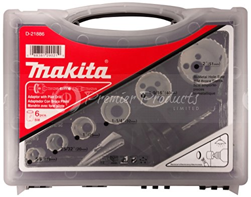 Makita 9 Piece - Electricians Bi-Metal Hole Saw Kit For Drills - Precise Boring Into Metal, Wood, Aluminum & PVC - Ultra HSS 4/6 Variable Pitch BIM Teeth