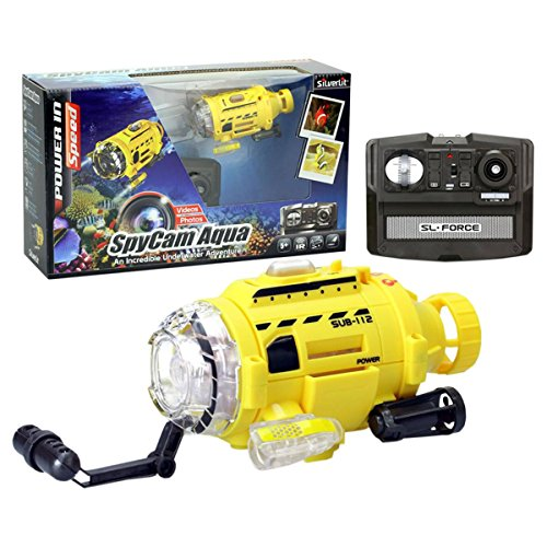 SpyCam Aqua, Remote Control Toy Submarine with Camera and LED Light, 4.4