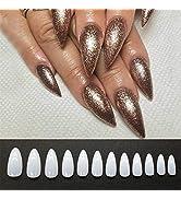 False Nails Tips 500Pcs Acrylic Nail Art Full Cover Almond Fake Nails Long Almond Stiletto False ...