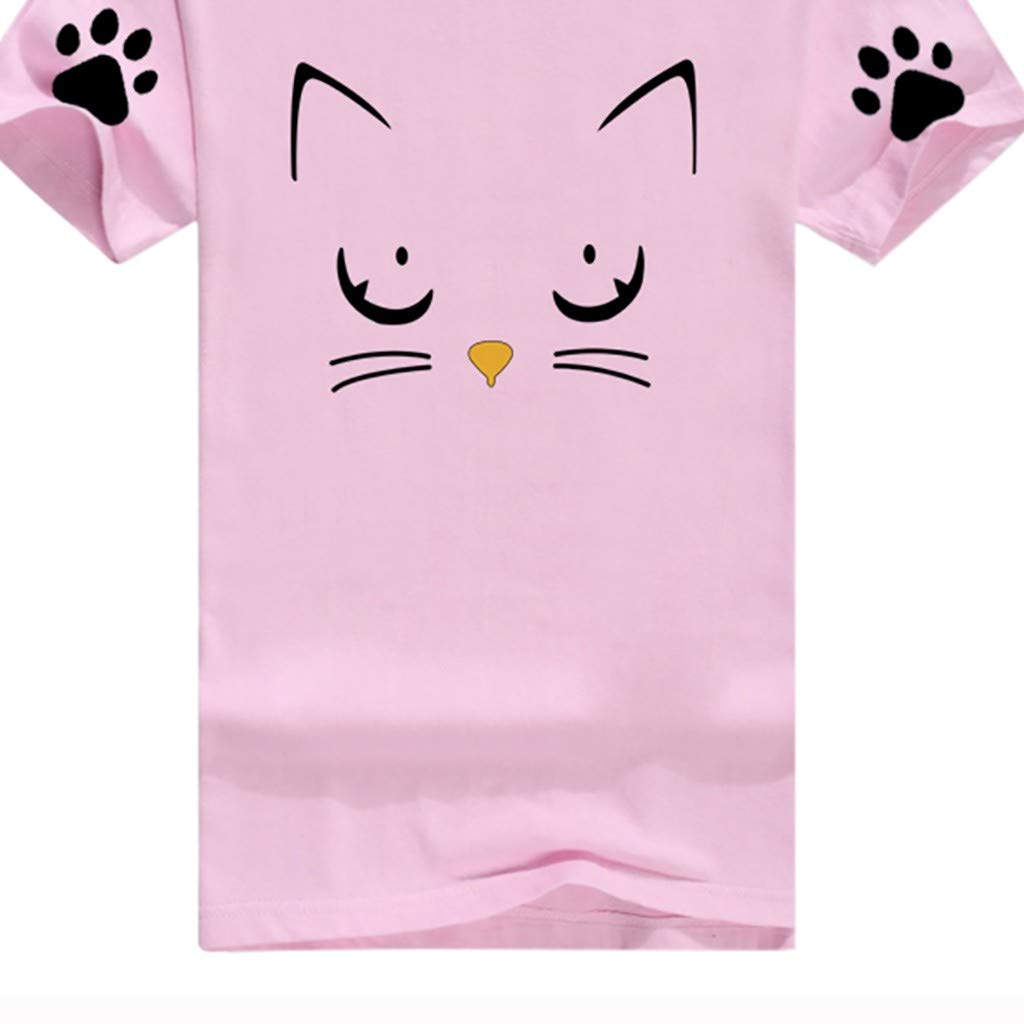 Womens Summer Short Sleeve Casual O-Neck Cute Cat Print Tops Tee Shirts Blouse by ASERTYL (Image #2)