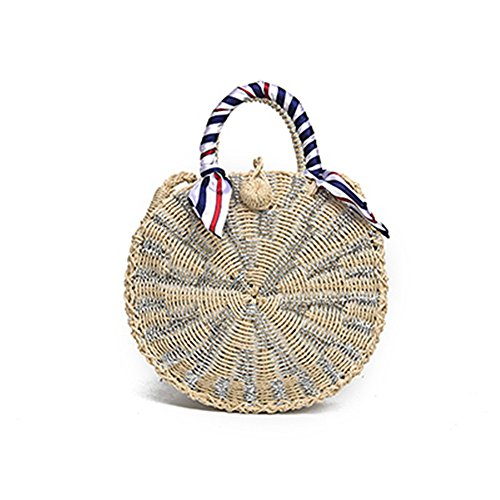 Khaki Bags Beach Body Rattan Bag Meaeo Handmade Circle Bag Cross Woven Straw Handbag Wrapped Summer Khaki Women Ladies BqAAfaw