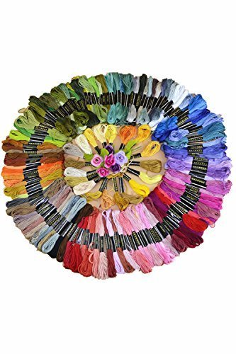 OUR Fashion 150 Skeins of Cross Stitch Threads 8M Cotton Embroidery Floss Sewing Threads Random Color
